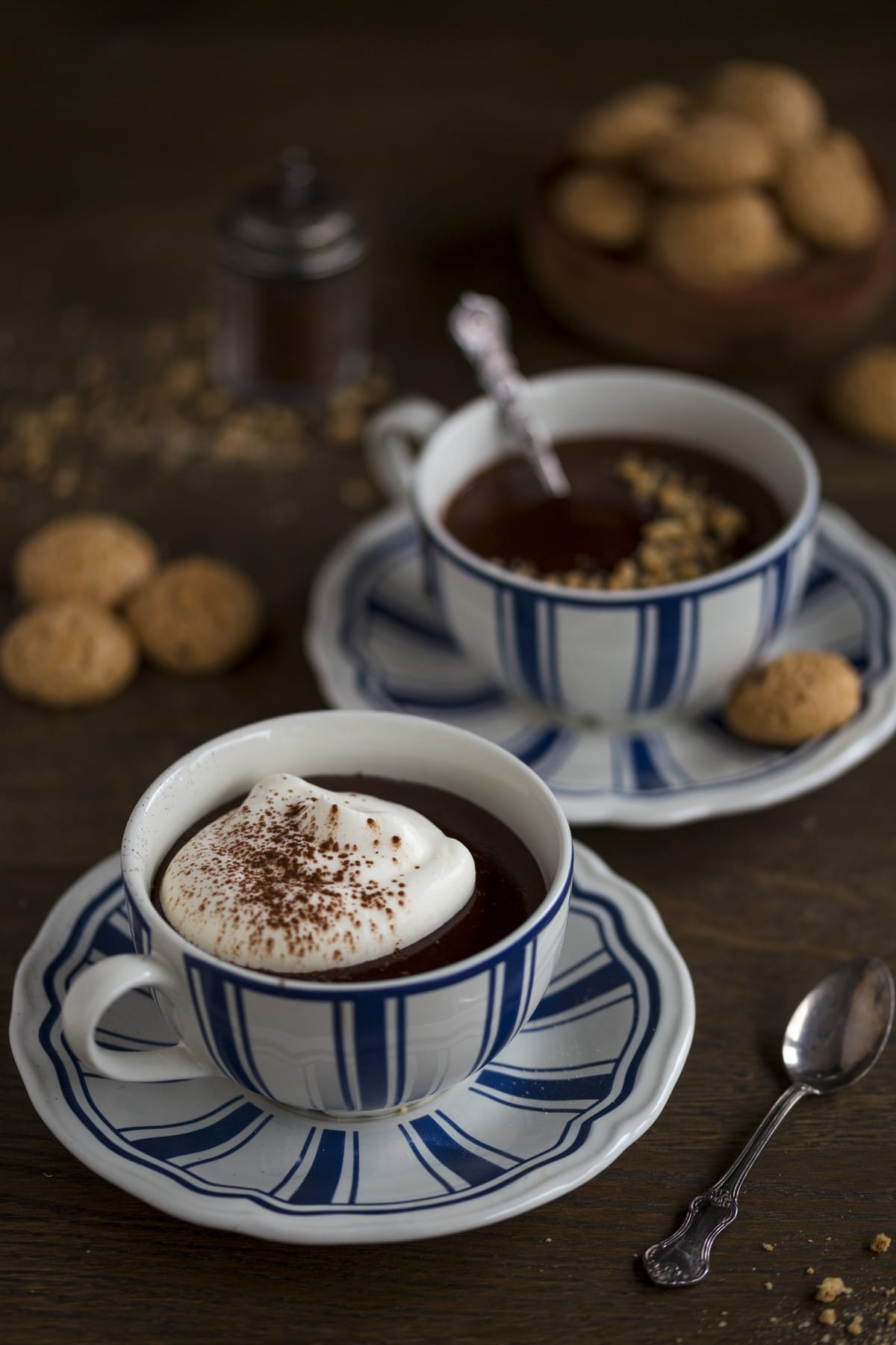 Italian hot chocolate topped with whipped cream or crushed cookies.