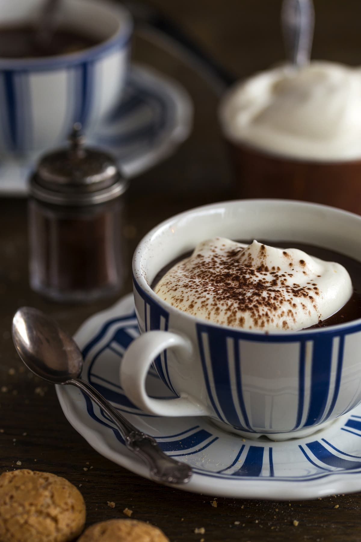 Thick hot chocolate with whipped cream and cocoa powder.