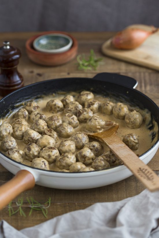 Swedish meatballs in cream gravy.