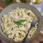 Walnut sauce pasta with cream and parmesan.