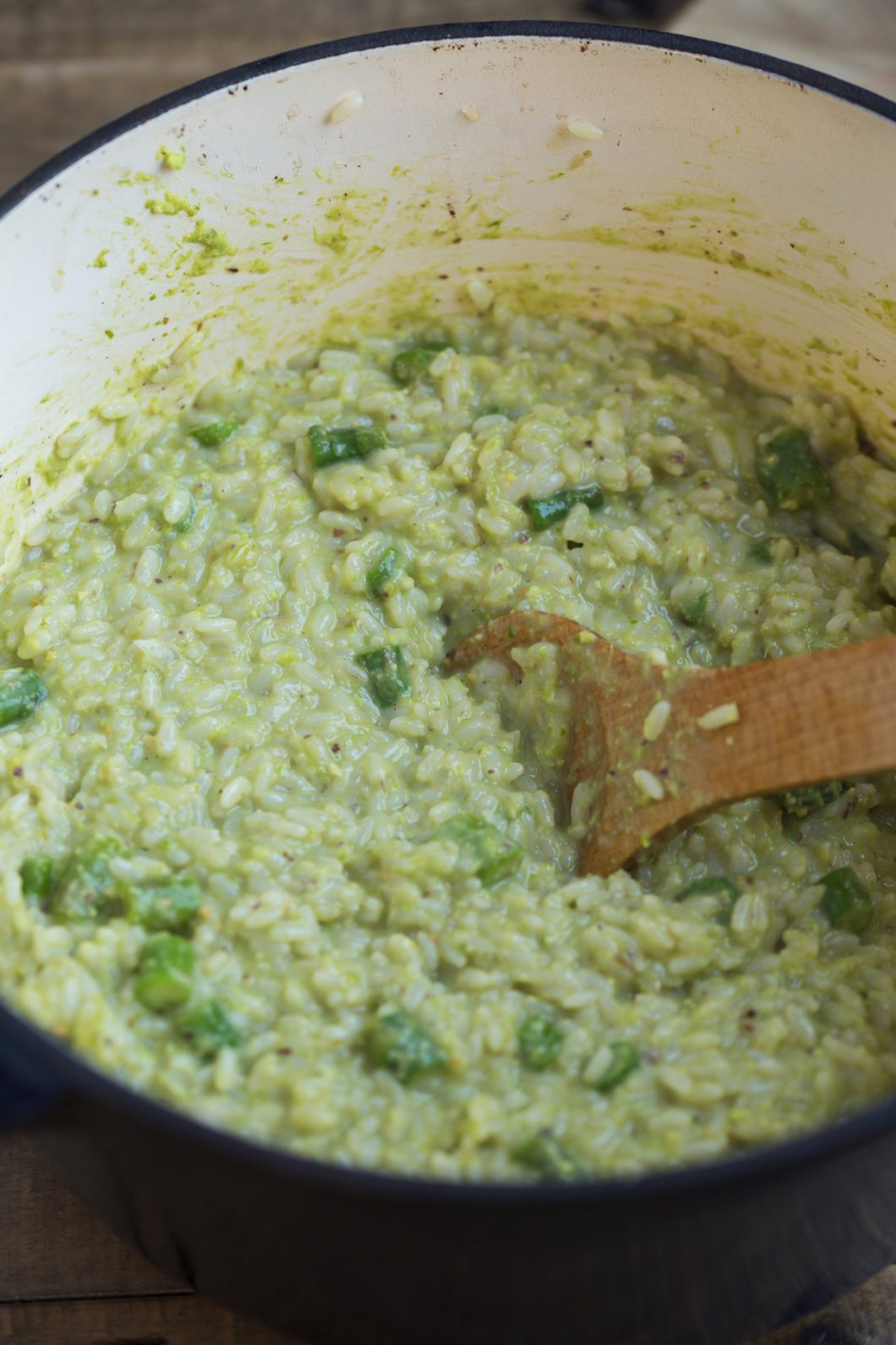 Asparagus risotto in a Dutch oven.