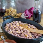 Red wine risotto with radicchio and walnuts.