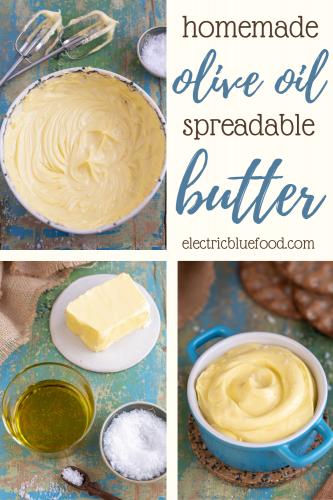 Easy to make with only 3 ingredients this olive oil butter spread is the best of both worlds. Silky spreadable butter enriched with a note of olive oil and a salt flake here and there. This homemade spread has the best texture and the finest taste.