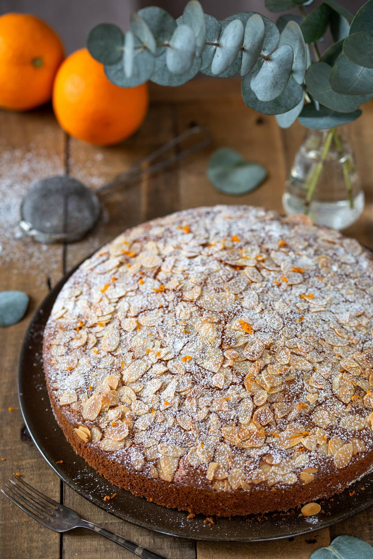 Italian-style carrot cake with almonds and orange zest.