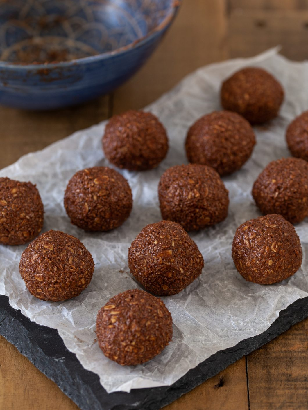 Chocolate oat balls with no coating.