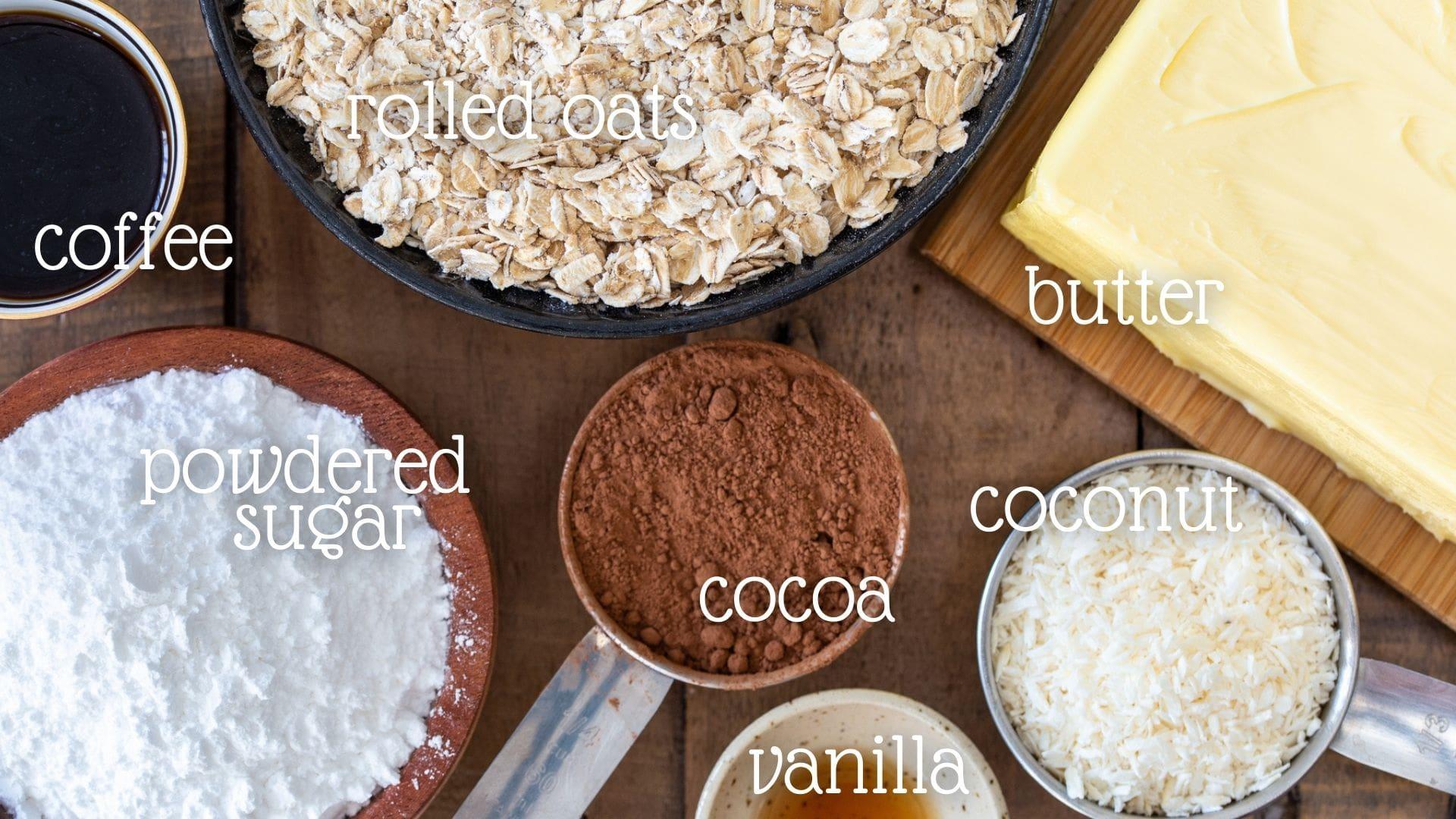 Chocolate balls ingredients.