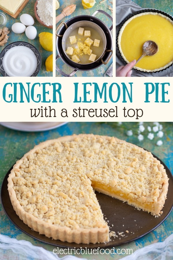 A lemon tart with a touch of ginger and a buttery streusel top, this ginger lemon pie is a delicious dessert. The zesty lemon curd filling with a hint of ginger is the perfect companion to the crumbly shortcrust base and topping. A bakery-style pie to enjoy all year.