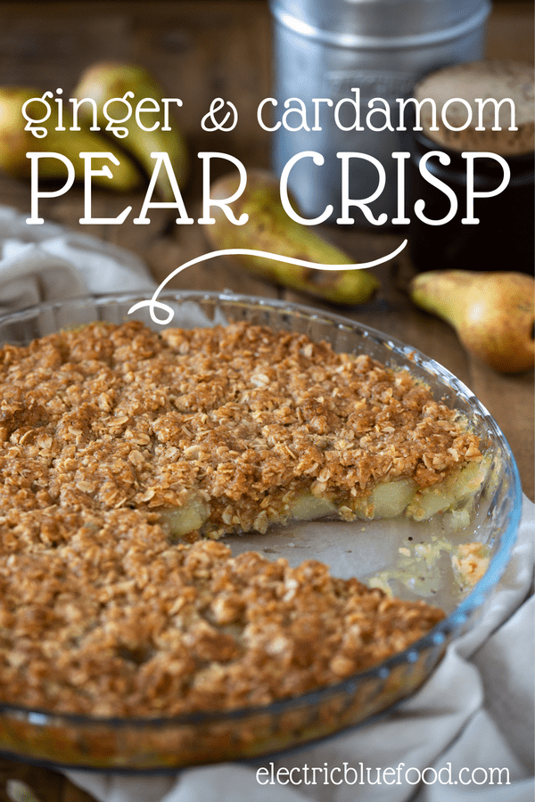 A spiced pear crisp with ginger and cardamom is a delicious dessert that is great both warm and cold. An aromatic layer of soft spiced pears topped with a maple oat crisp. Perfect all year.