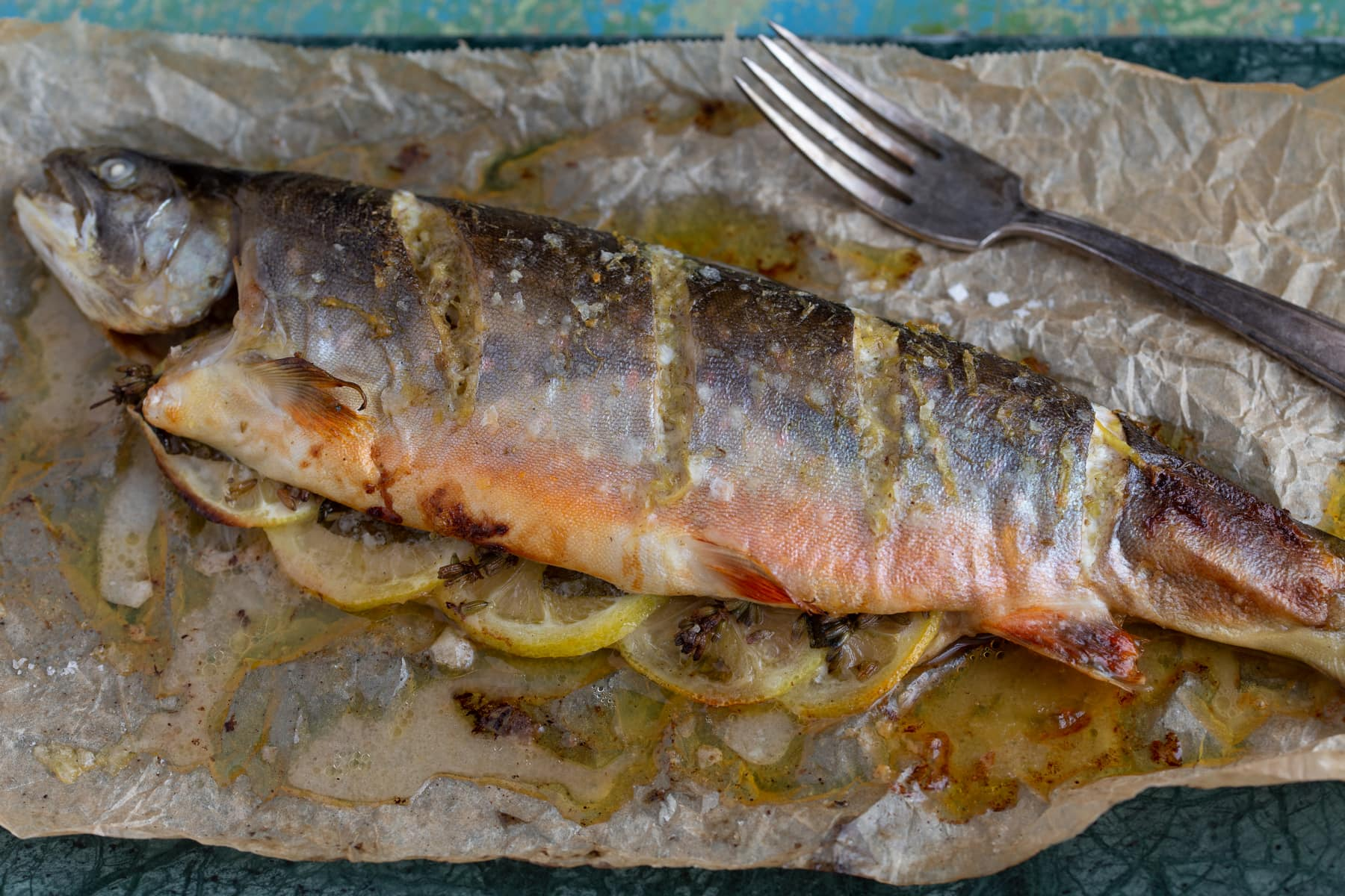 Baked rainbow trout with lemon lavender butter.
