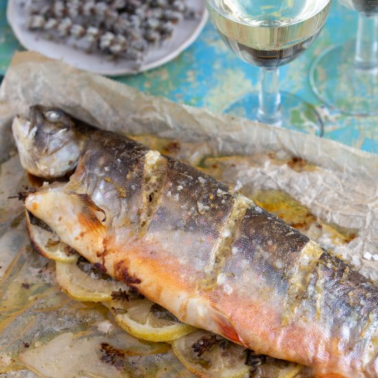 Lavender trout straight out of the oven.