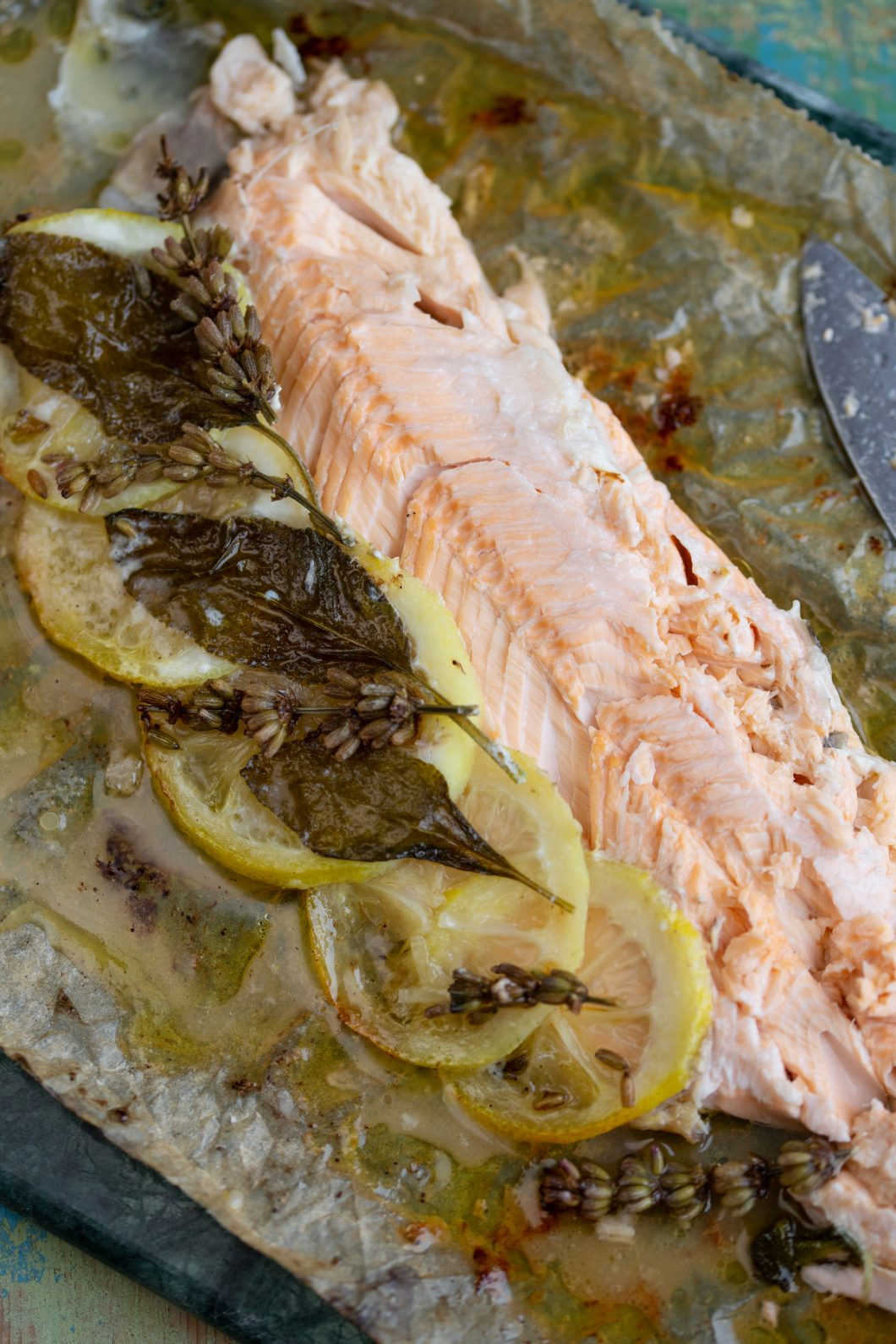 Filleted baked trout exposing the stuffing.