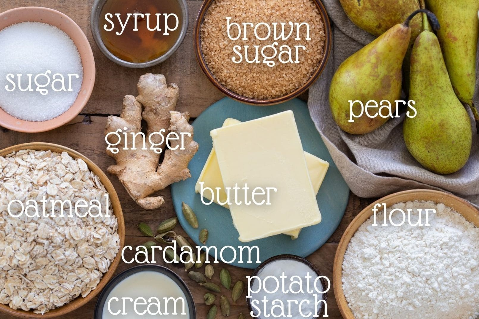 Overhead image of the ingredients needed in the recipe.