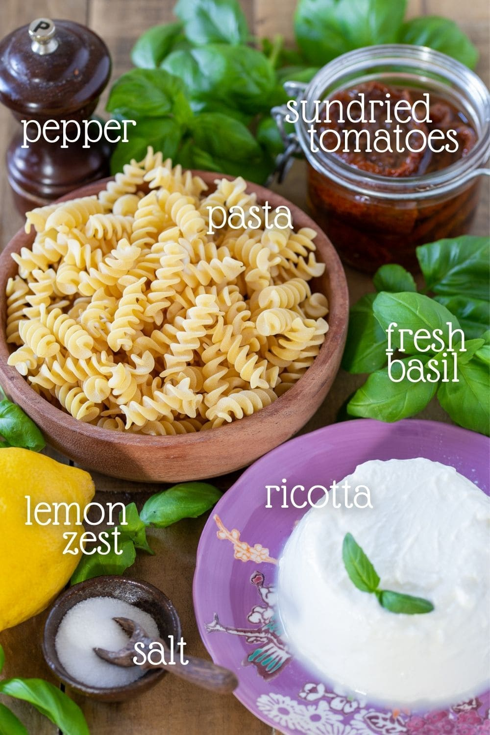 The ingredients needed in this recipe placed in separate bowls.