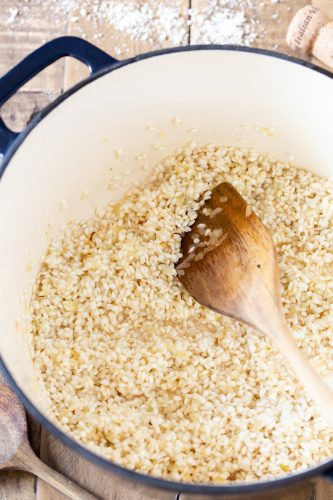 Toast the rice.