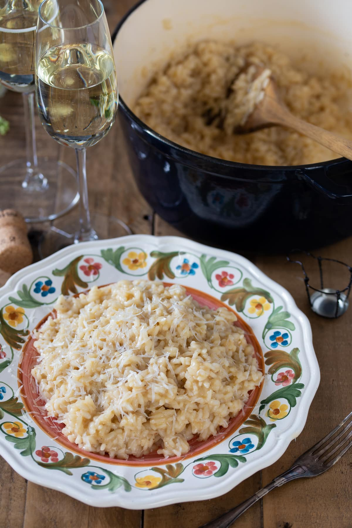 Parmesan risotto with prosecco, Italian sparkling wine.