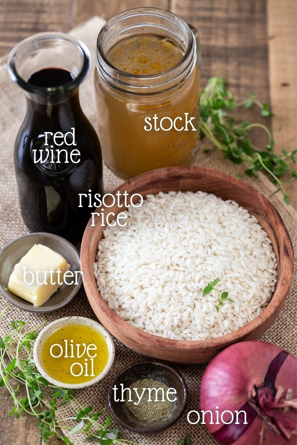 The ingredients needed in this recipe arraged on a wooden table.