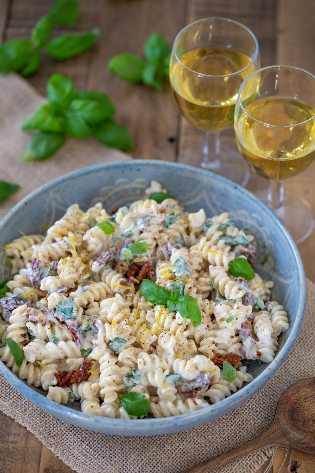 This creamy ricotta pasta salad in a serving bowl.