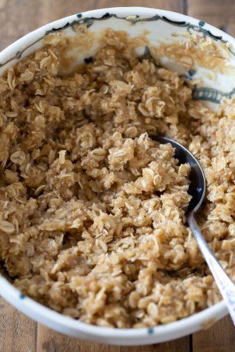 The maple oat crisp in a bowl.