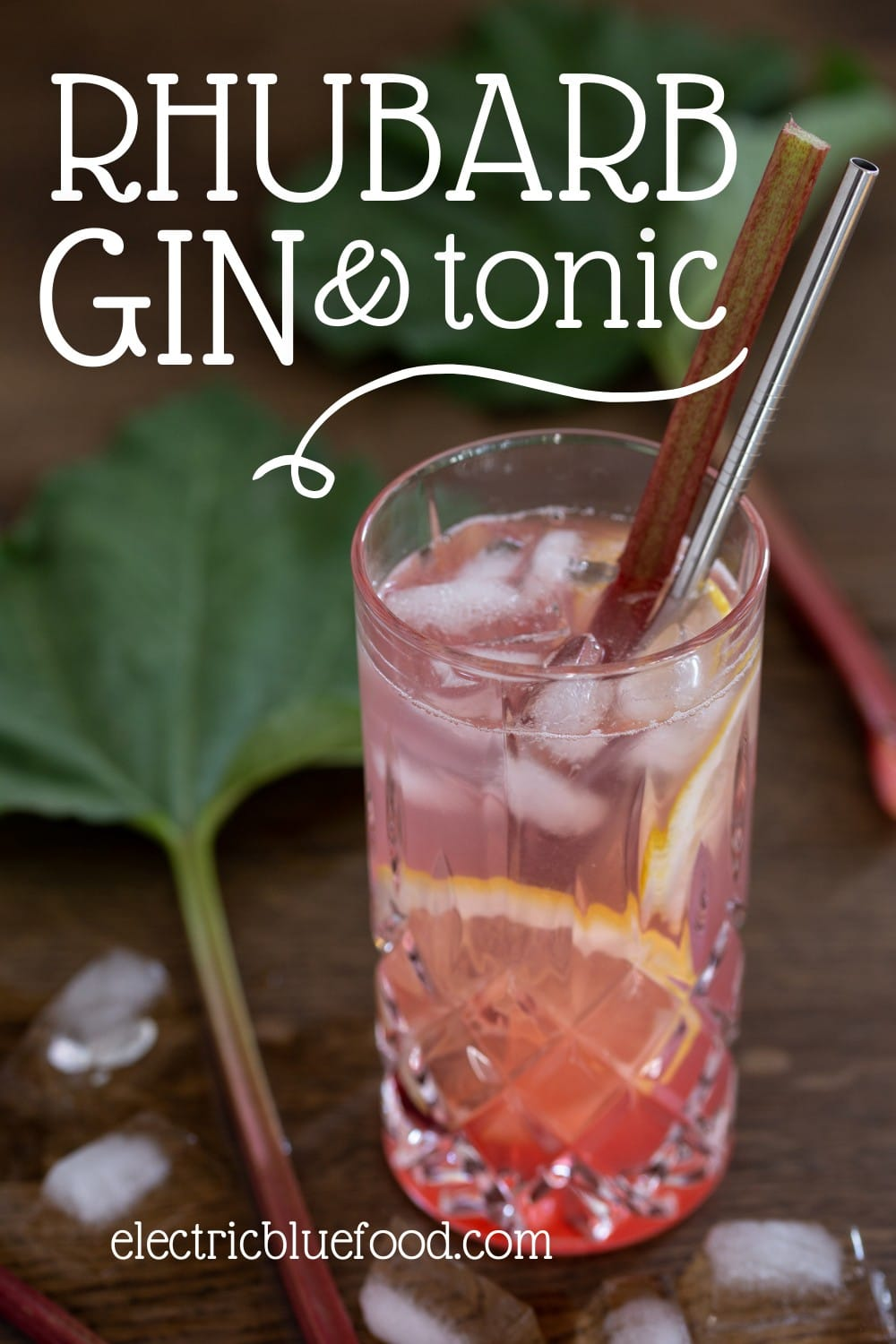 Rhubarb G&T made with homemade rhubarb syrup. A summer flavour variation of a classic cocktail.