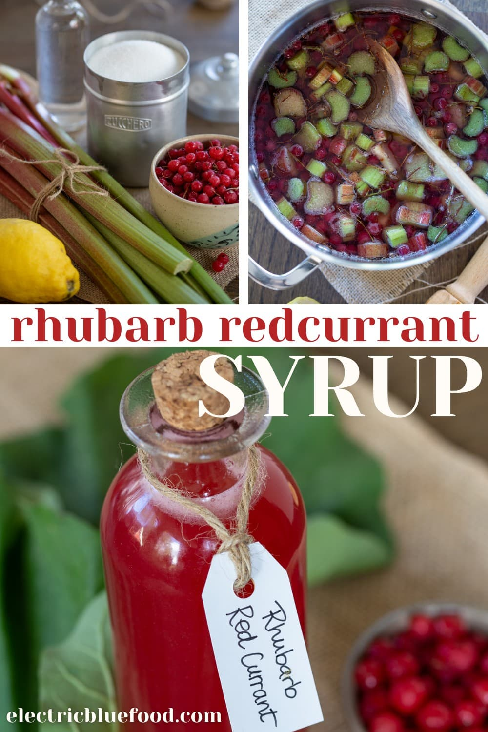 Homemade rhubarb and redcurrant syrup to use in drinks, cocktails or even to flavour hot tea.