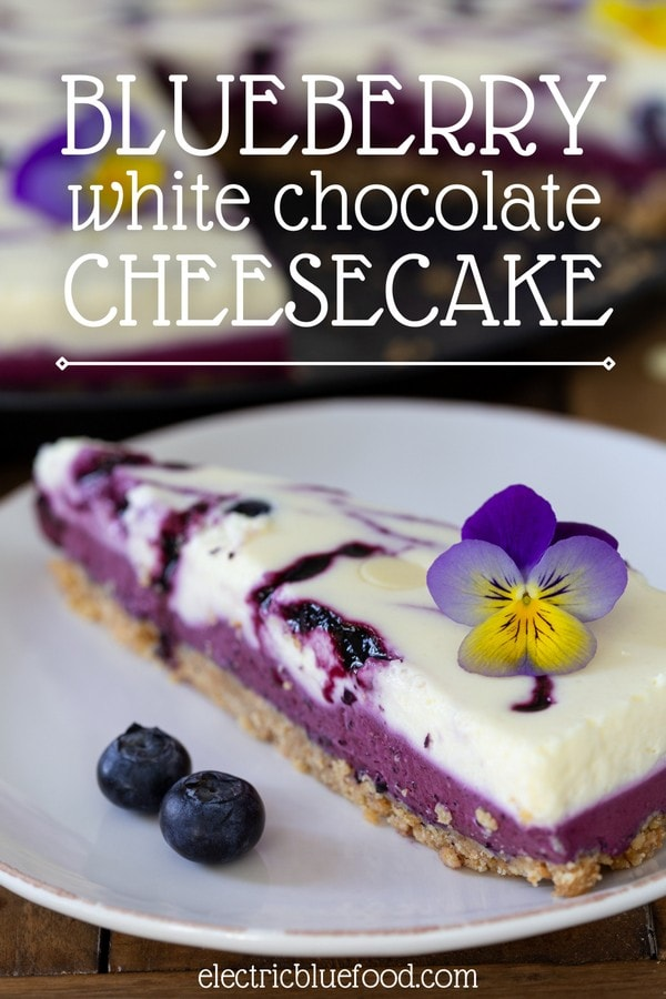 This blueberry white chocolate cheesecake is an elegant dessert made with 2 ingredients that pair wonderfully well together. It's a no-bake cheesecake made of 2 layers, keeping the 2 flavour elements separated.