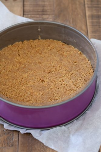 The springform pan with the biscuit base.