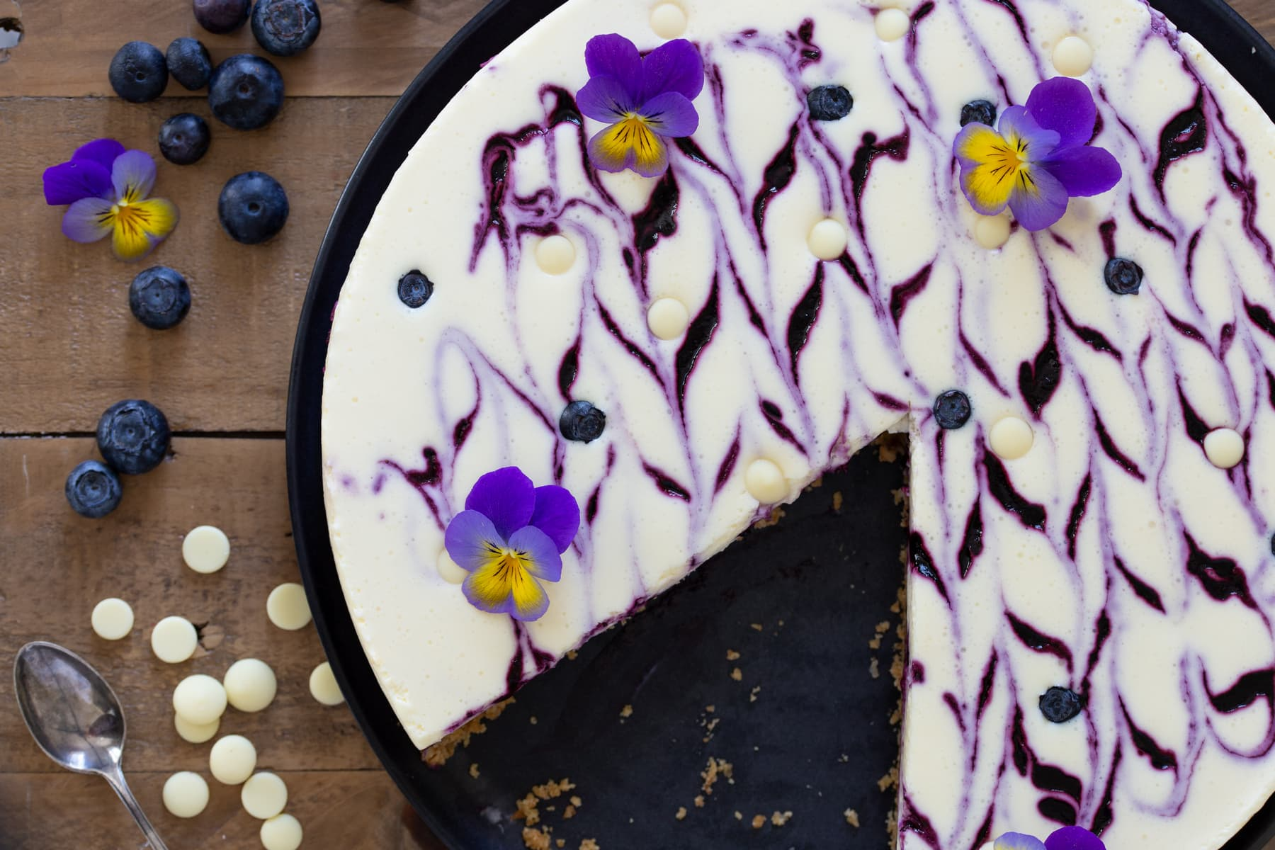 Overhead view of blueberry white chocolate no-bake cheesecake.