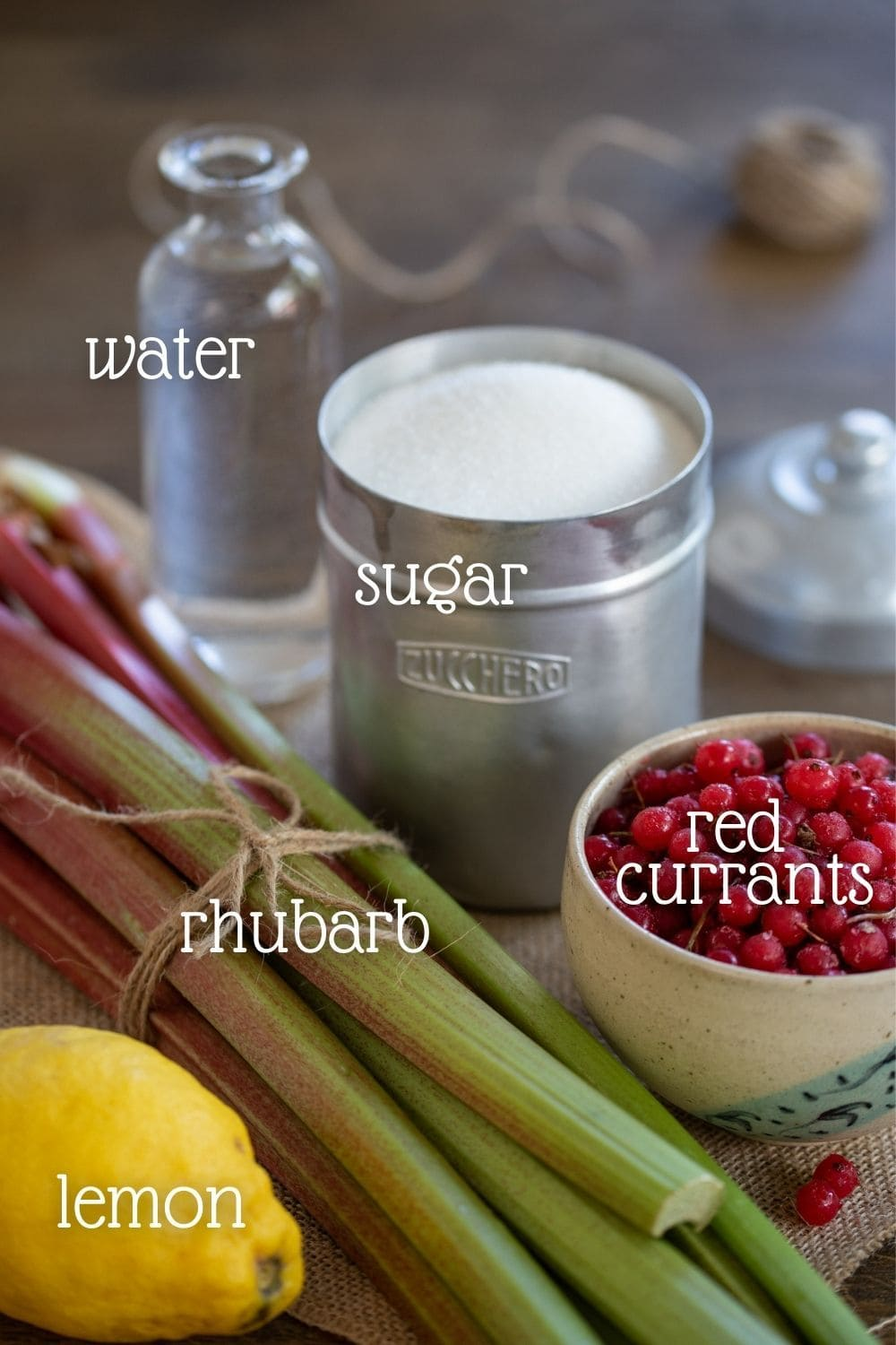 Rhubarb stalks, redcurrants and other ingredients needed.