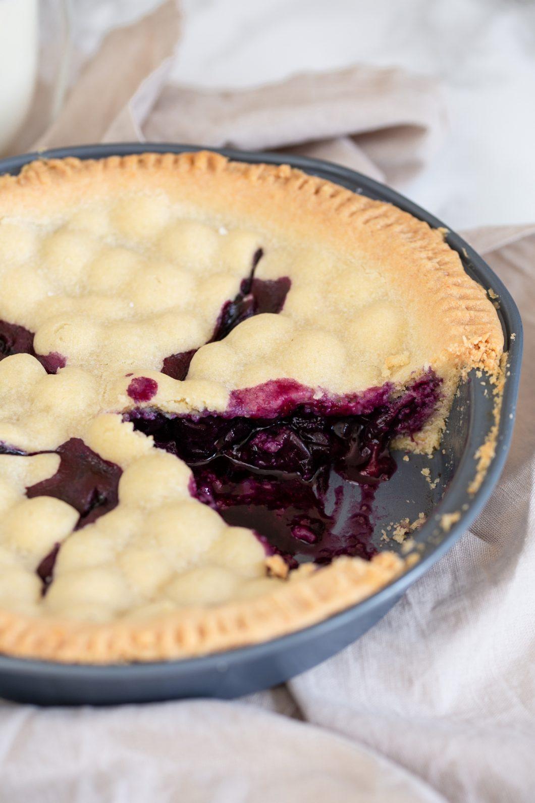 Swedish blueberry pie sliced.