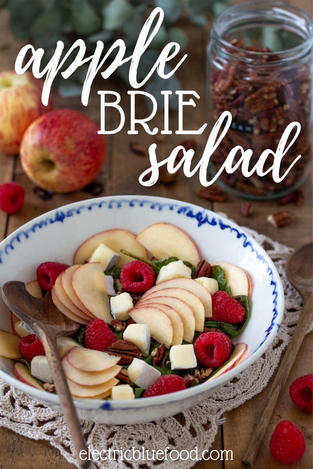 Apple brie salad with raspberries and pecans. A colourful salad with fresh fruits, nuts and a raspberry vinaigrette.