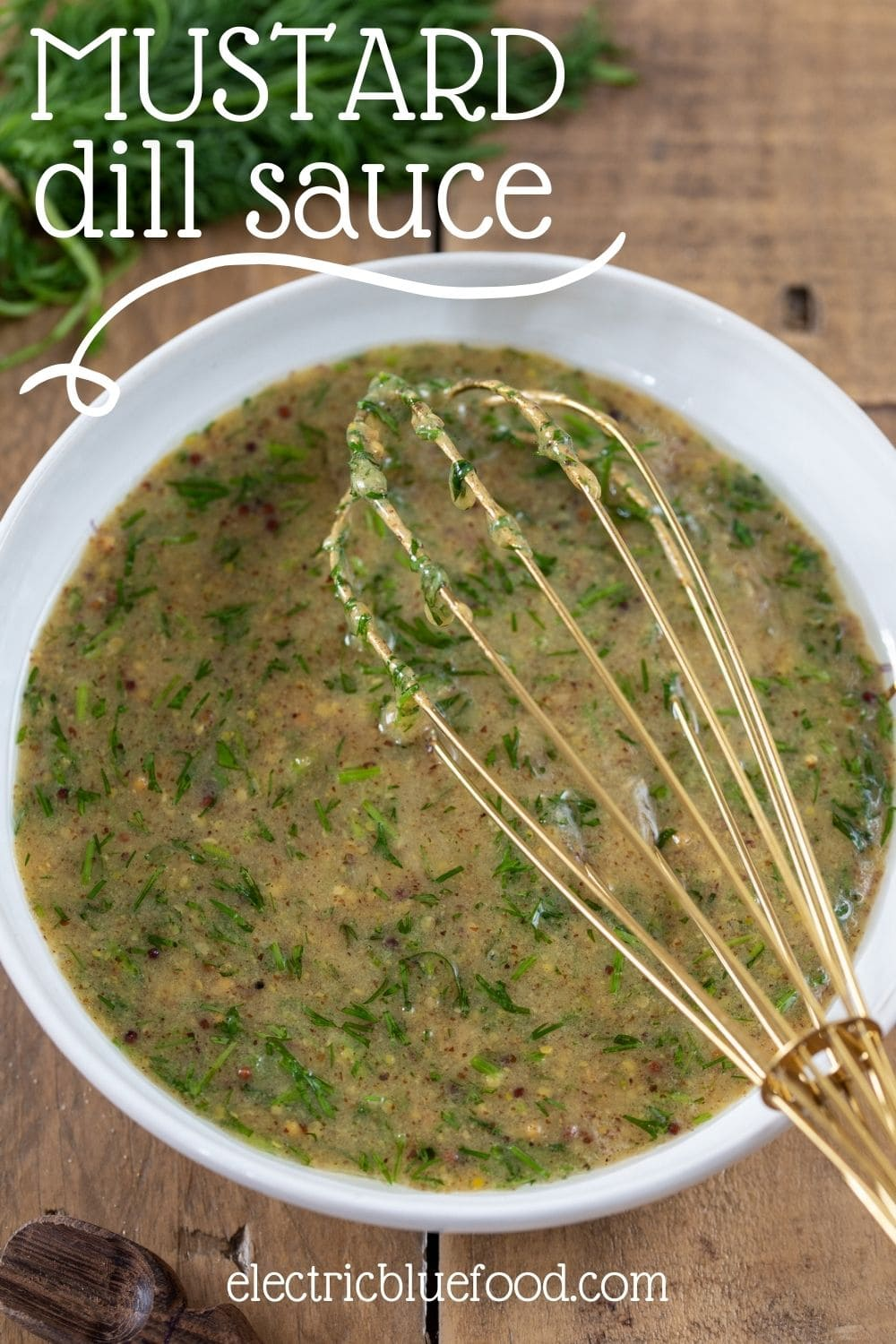 Swedish-style dill mustard sauce to use on smoked fish or as salad dressing. A mustard sauce with a sweet and sour quality and the herbal flavour of freshly minced dill.