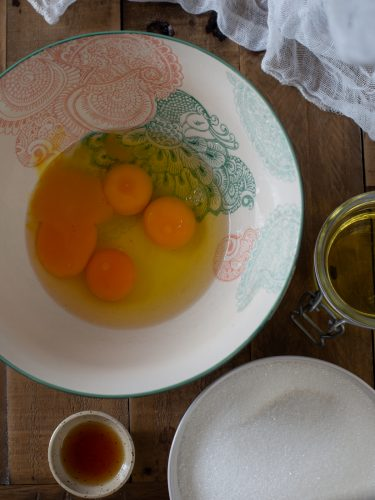The first stage of the recipe: mixing the eggs.