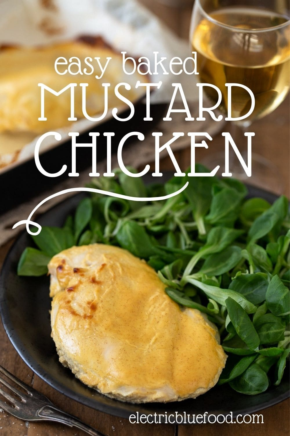 Baked chicken breasts with mustard, an easy dish that requires very little preparation and lands you a healthy simple dinner in just over a half hour.