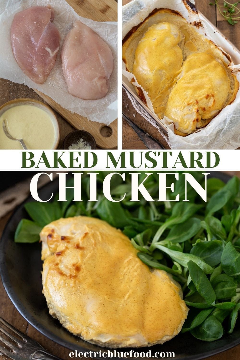 Easy baked mustard chicken breasts are an easy midweek dinner that requires only 2 minutes hand-on and just over a half hour of oven time.