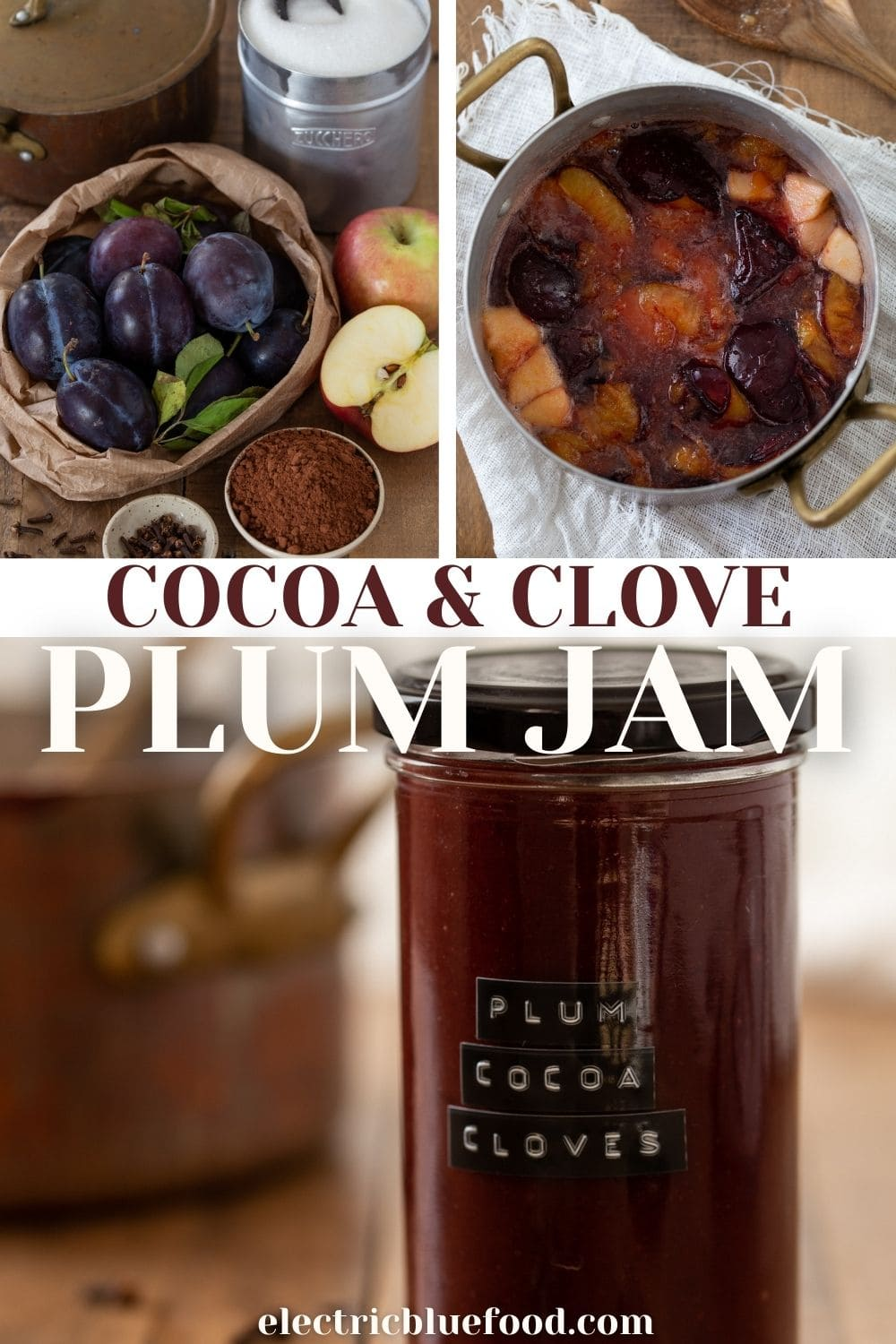 A spiced plum jam with cocoa and cloves. Perfect as tart filling, to spread on toast or to serve with cheese. Its subtle spiced notes make it perfect for the fall and winter.
