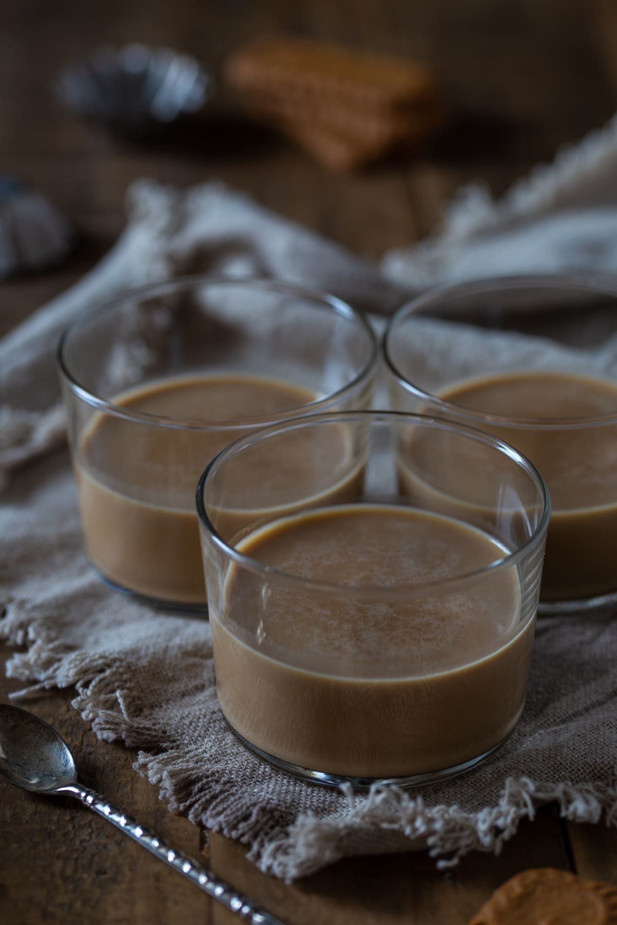 The panna cotta in see-through glasses.