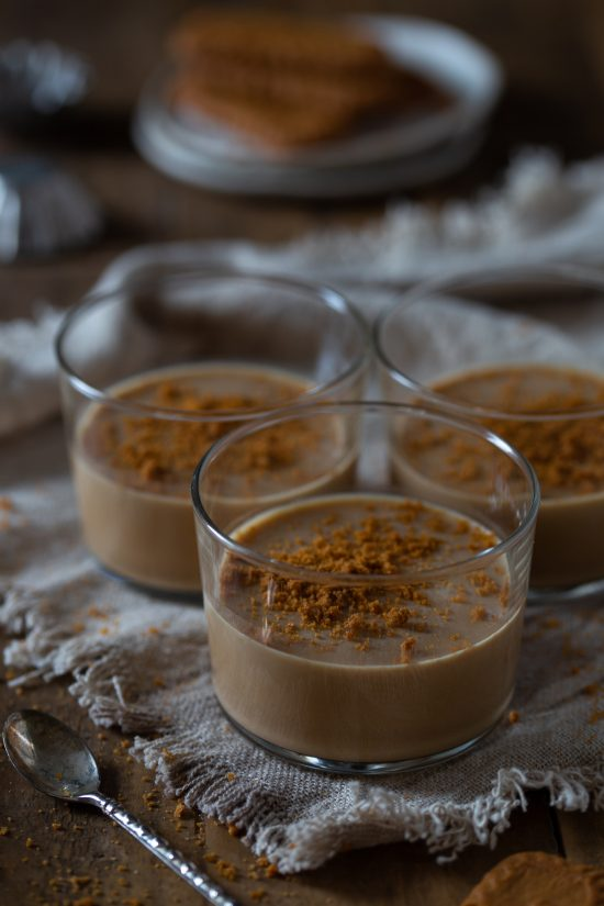 Biscoff panna cotta with crumbled Lotus Biscoff biscuits on top.
