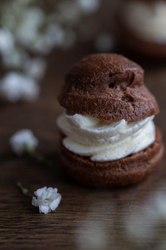 Cocoa cream puff closeup.