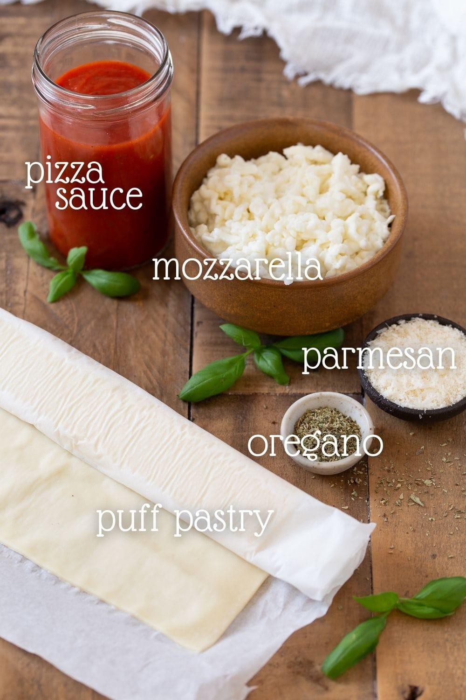 Pizza pinwheels ingredients.